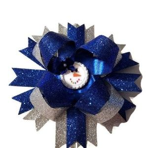 """Blue & Silver Snow Man 6"""" Layered Boutique Bow"""